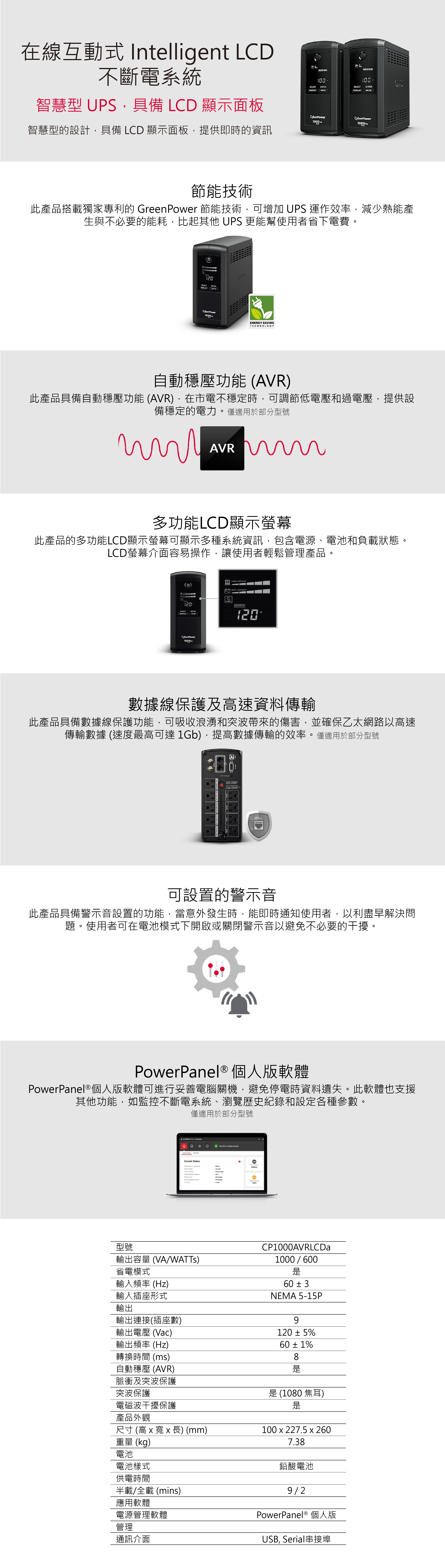 Cyberpower UPS CP1000AVRLCDa 商品介紹