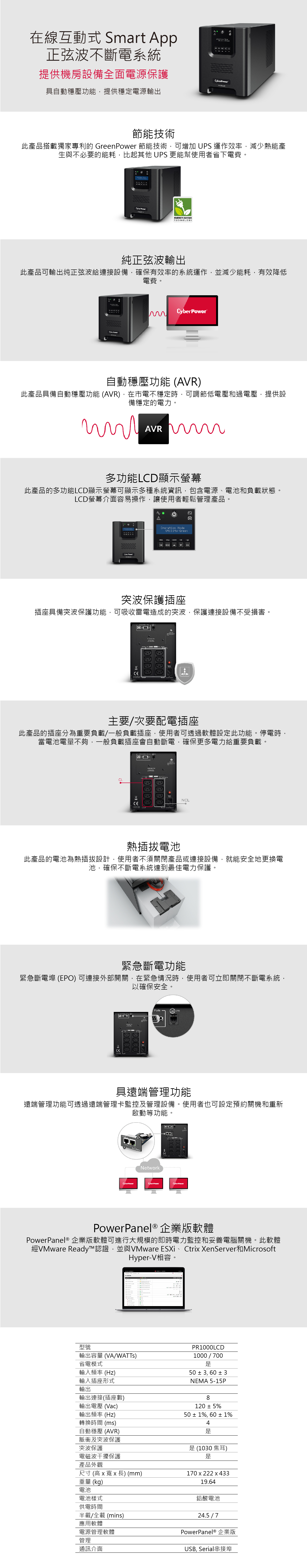 Cyberpower UPS PR1000LCD 商品介紹