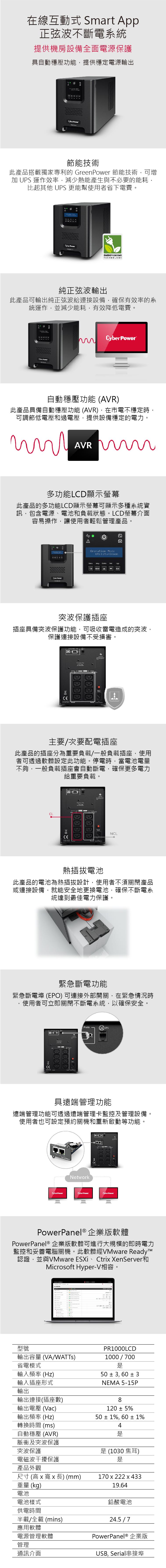 Cyberpower UPS PR1000LCD商品介紹